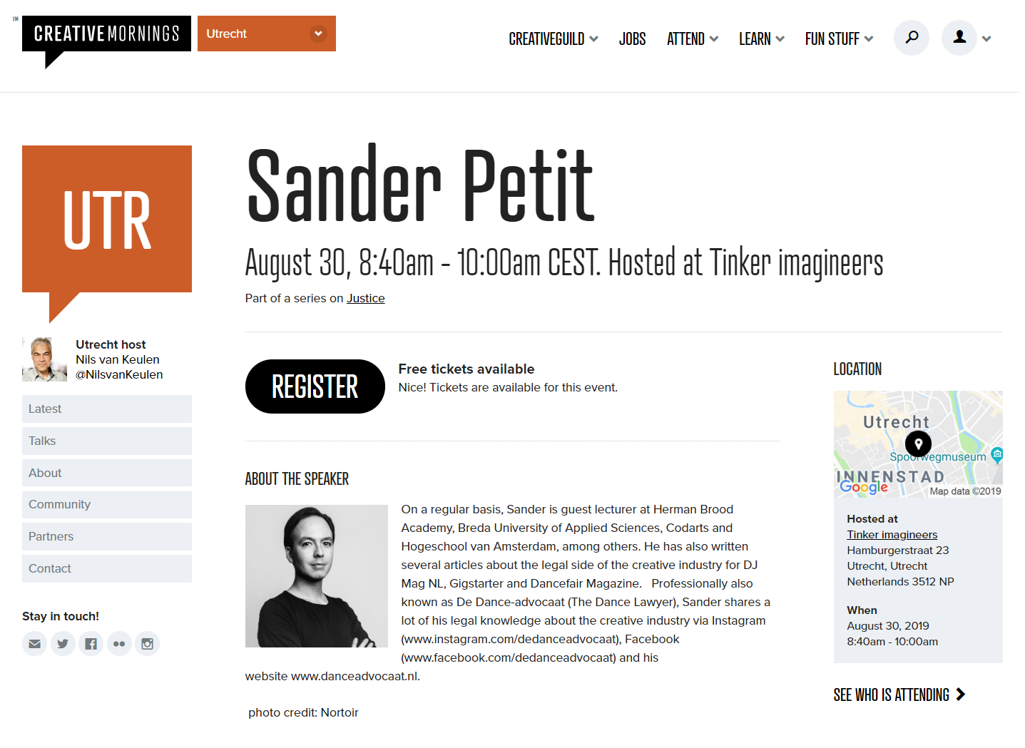 CreativeMornings x Sander Petit